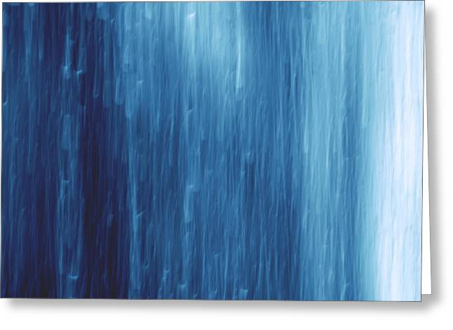 Abstract Rain Greeting Cards - Abstract Blue Rain Greeting Card by Jozef Jankola
