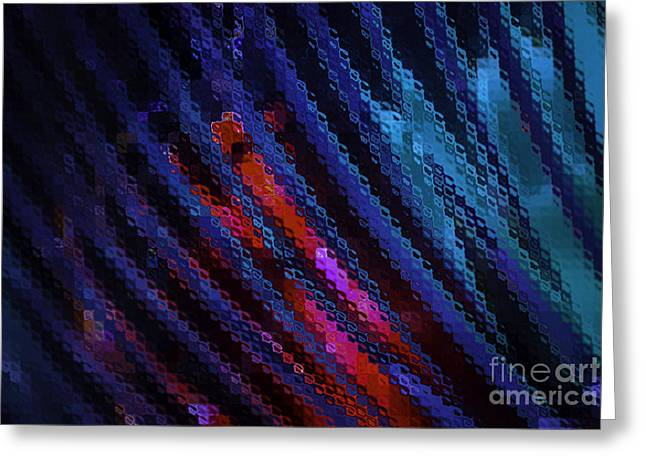 Diagonal Greeting Cards - Abstract Blue Red Green Blur Greeting Card by Marvin Spates