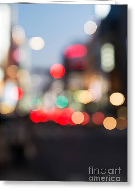 """""""japan City"""" Greeting Cards - Abstract blurred city scenery Greeting Card by Oleksiy Maksymenko"""