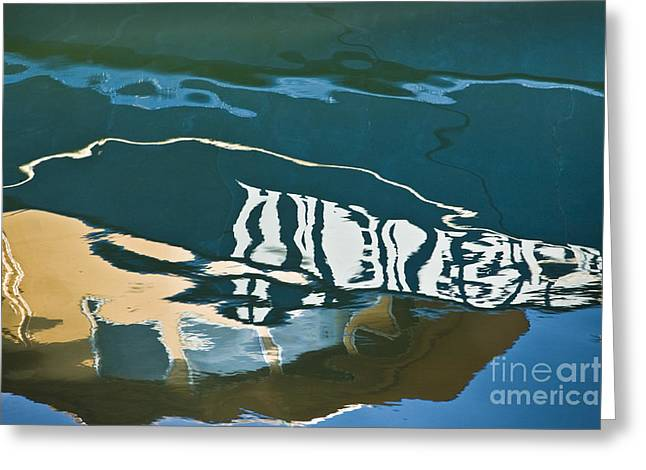 Bedford Greeting Cards - Abstract Boat Reflection Greeting Card by Dave Gordon