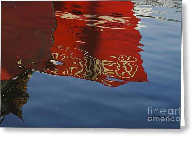 Chromatic Greeting Cards - Abstract Boat Reflection V Greeting Card by David Gordon