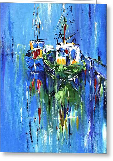 Most Commented Framed Prints Greeting Cards - Abstract Boats on blue Greeting Card by Mary Cahalan Lee