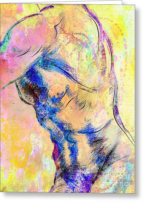 Young Nude Man Mixed Media Greeting Cards - Abstract Bod 6 Greeting Card by Mark Ashkenazi