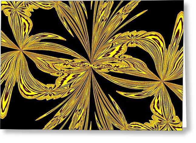 Citites Greeting Cards - Abstract Botanical Gold Greeting Card by Margaret Newcomb
