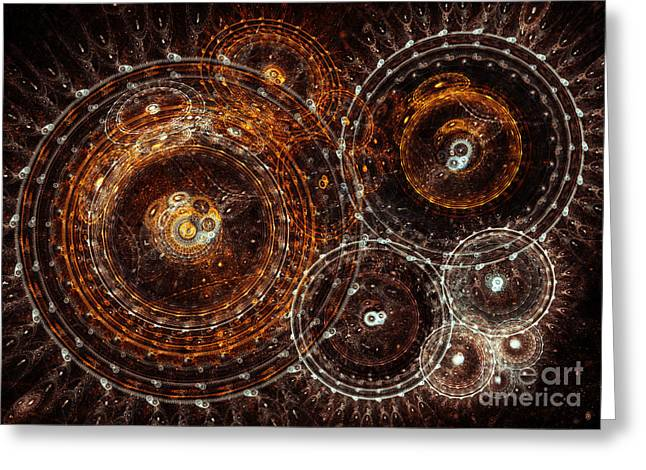 Industrial Concept Greeting Cards - Abstract bronze circle fractal  Greeting Card by Martin Capek