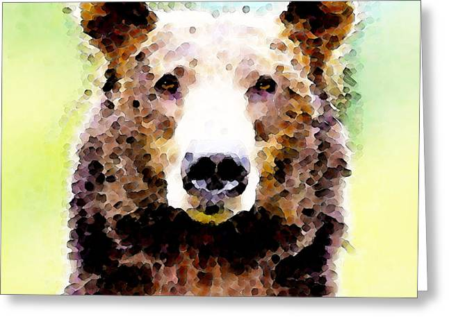 Cute Bear Greeting Cards - Abstract Brown Bear Art - Curious Greeting Card by Sharon Cummings
