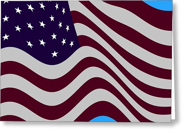 14th July Greeting Cards - Abstract Burgundy Grey Violet 50 Star Flag Flying Cropped x 2 Greeting Card by L Brown