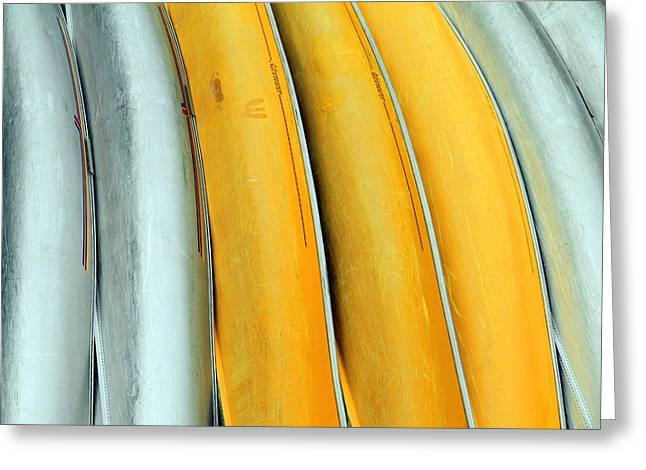 Canoe Greeting Cards - Abstract Canoes Greeting Card by Valentino Visentini