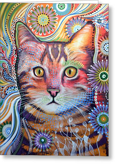 Shelter Kitty Greeting Cards - Abstract Cat Art ... Olivia Greeting Card by Amy Giacomelli