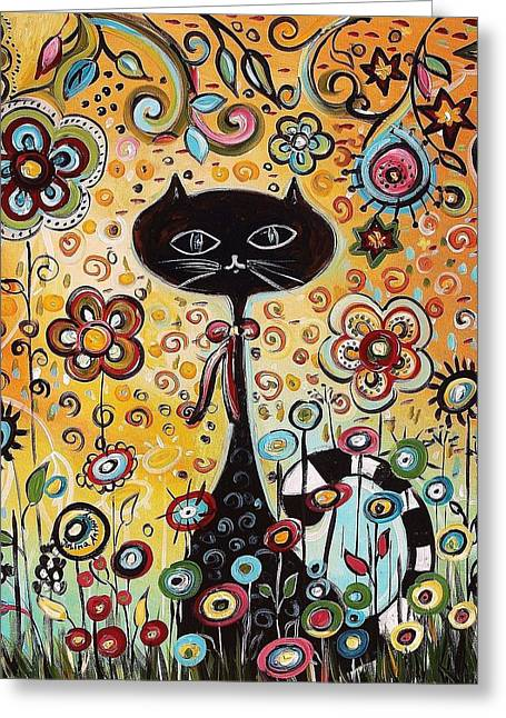 Jolina Anthony Greeting Cards - Abstract cat  Greeting Card by Jolina Anthony