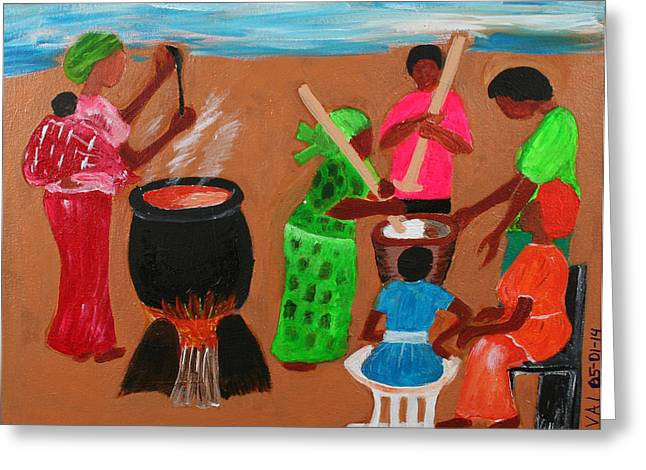 Which Way Greeting Cards - Abstract Ceremonial Cooking Greeting Card by Vivian IDOWU