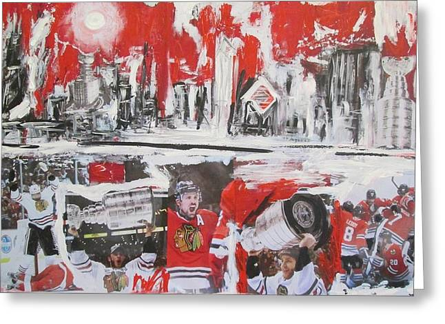 Chicago Skyline Mixed Media Greeting Cards - Abstract Chicago Skyline Blackhawks Championship Greeting Card by John Sabey Jr