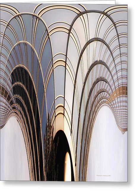 Glass Reflecting Greeting Cards - Abstract Chicago Sunrays On Trump Tower Greeting Card by Thomas Woolworth