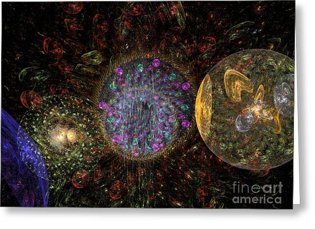 Abstract Christmas Balls #1 Greeting Card by Russell Kightley