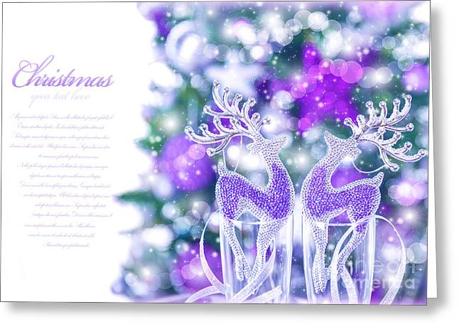 Rudolph Greeting Cards - Abstract Christmas border Greeting Card by Anna Omelchenko
