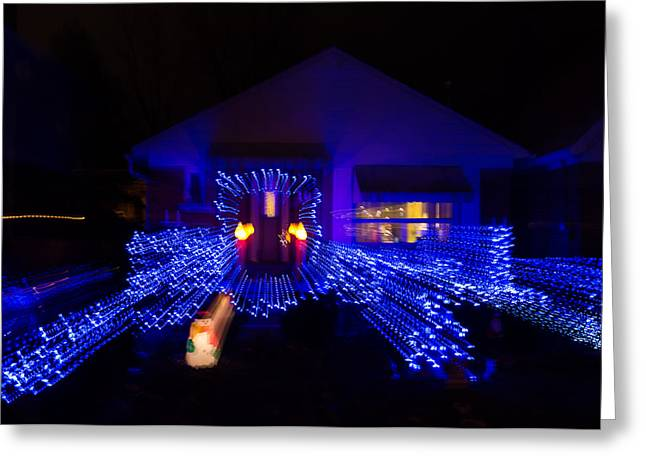 Festivities Greeting Cards - Abstract Christmas Lights - Blue Holidays House Impression Greeting Card by Georgia Mizuleva