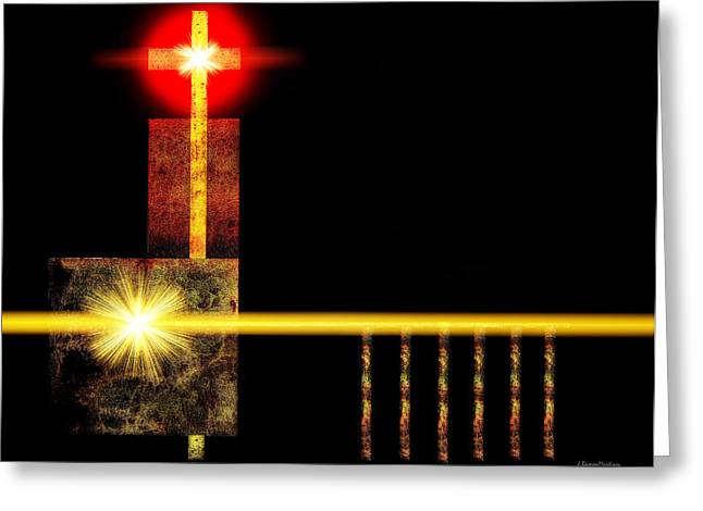 Church Framed Prints Greeting Cards - Abstract Church Greeting Card by Ramon Martinez