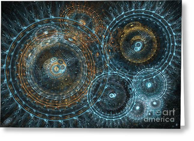Steampunk Digital Art Greeting Cards - Abstract circle fractal Greeting Card by Martin Capek