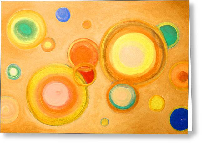 Planet Earth Pastels Greeting Cards - Abstract circles spheres #6 Original Painting Print Available Greeting Card by Robert R Abstract Paintings