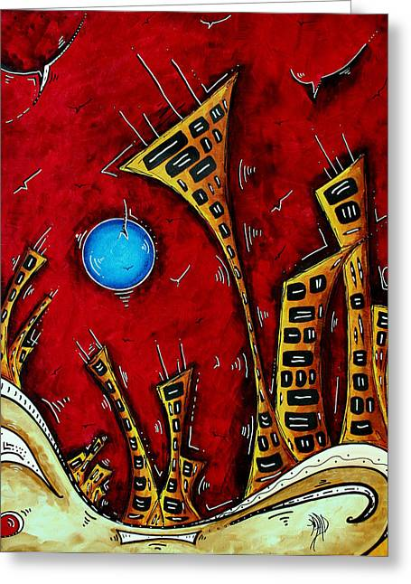 Abstract City Cityscape Art Original Painting Stand Tall By Madart Greeting Card by Megan Duncanson