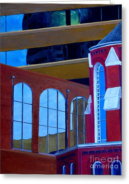 Deluded Greeting Cards - Abstract City Downtown Shreveport Louisiana Urban Buildings and Church Greeting Card by Lenora  De Lude