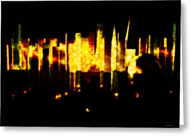 Abstract Minimalism Greeting Cards - City in the Night Greeting Card by Ramon Martinez