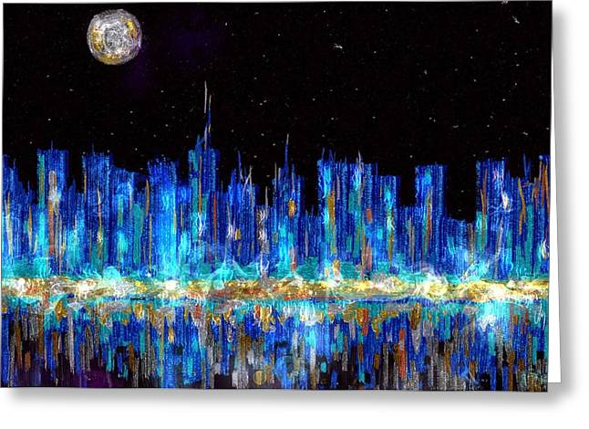 Silver City Greeting Cards - Abstract city skyline Greeting Card by Veronica Minozzi
