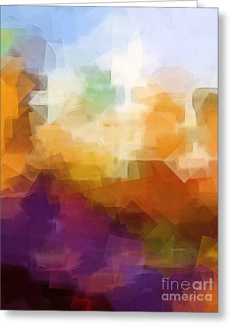 Abstract Field Greeting Cards - Abstract Cityscape Cubic Greeting Card by Lutz Baar