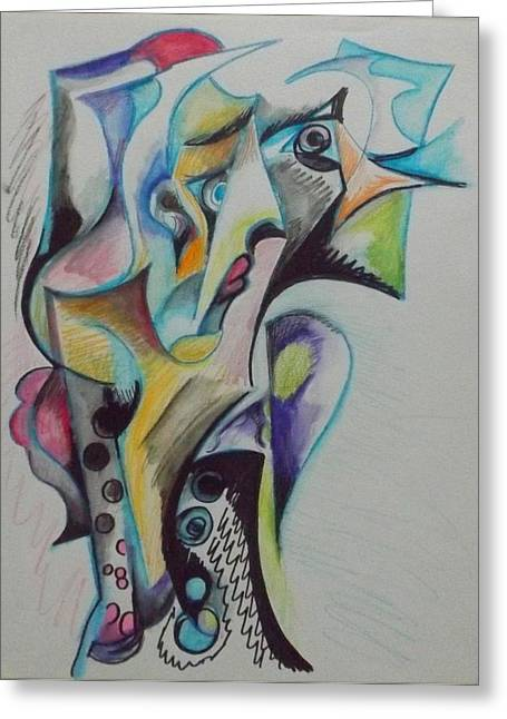 Jester Pastels Greeting Cards - Abstract Clown Greeting Card by Julie Lee