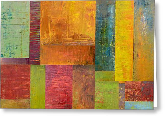 Geometric Design Greeting Cards - Abstract Color Study Collage l Greeting Card by Michelle Calkins