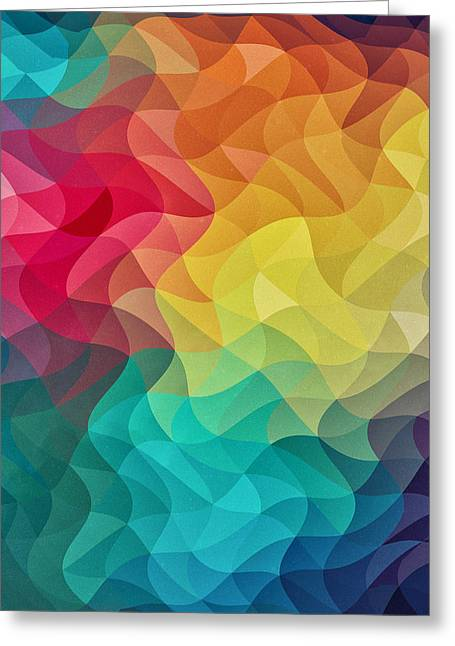 Abstract Geometric Greeting Cards - Abstract Color Wave Flash Greeting Card by Philipp Rietz