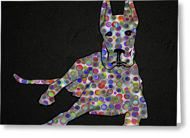 Abstract Digital Paintings Greeting Cards - Abstract Colorful Dog Silhouette Greeting Card by Georgeta Blanaru