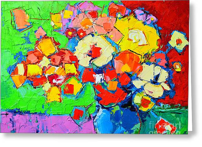 Flower Design Greeting Cards - Abstract Colorful Flowers Greeting Card by Ana Maria Edulescu