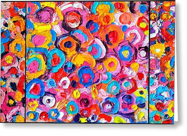 Abstract Expressionist Greeting Cards - Abstract Colorful Flowers Triptych  Greeting Card by Ana Maria Edulescu