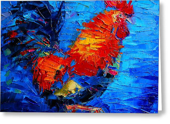 Red Claws Greeting Cards - Abstract Colorful Gallic Rooster Greeting Card by Mona Edulesco