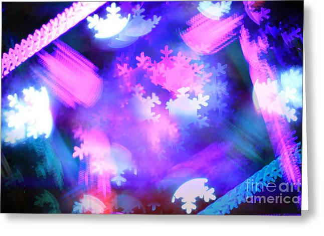 Geometric Effect Greeting Cards - Abstract Colorful Snowflakes Bokeh Lights Greeting Card by Beverly Claire Kaiya