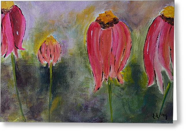 Abstracted Coneflowers Paintings Greeting Cards - Abstract Coneflower Greeting Card by Teresa Tilley