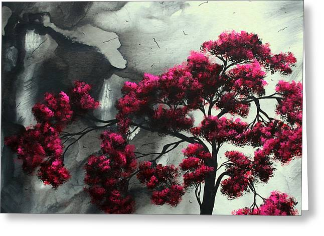 Gray Bird Greeting Cards - Abstract Contemporary Art Landscape Painting Modern Artwork PINK PASSION by MADART Greeting Card by Megan Duncanson