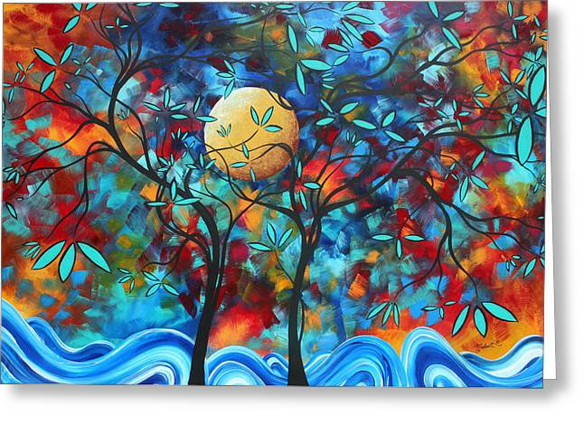 Oversized Art Greeting Cards - Abstract Contemporary Colorful Landscape Painting LOVERS MOON by MADART Greeting Card by Megan Duncanson