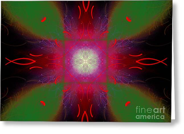 Abstract Cross Fish #4 Greeting Card by Russell Kightley