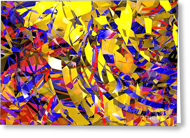 Pyrotechnics Greeting Cards - Abstract Curvy 14 Celebration Greeting Card by Russell Kightley