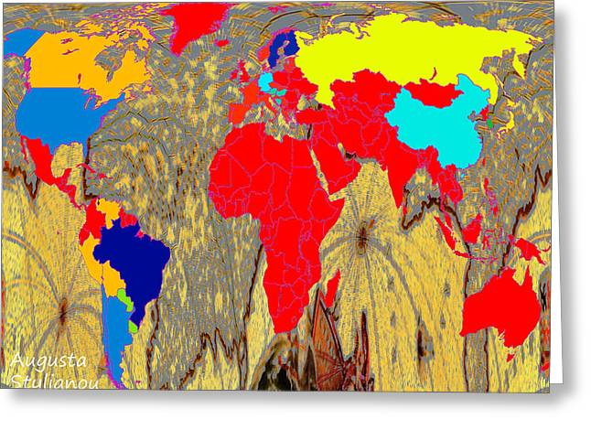 Old Map Digital Art Greeting Cards - Abstract Cyprus and World Map  Greeting Card by Augusta Stylianou
