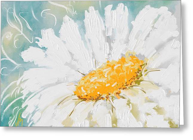 Garden Decoration Greeting Cards - Abstract daisy Greeting Card by Veronica Minozzi