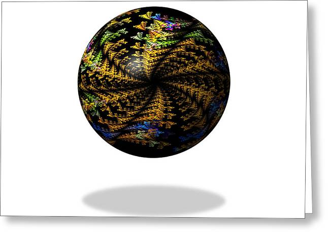 Fractal Orbs Greeting Cards - Abstract Dark Fractal Globe Greeting Card by Henrik Lehnerer