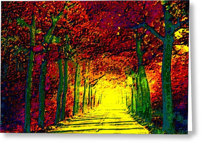 Abstract Decorative Hazy French Autumn Drive II Greeting Card by L Brown