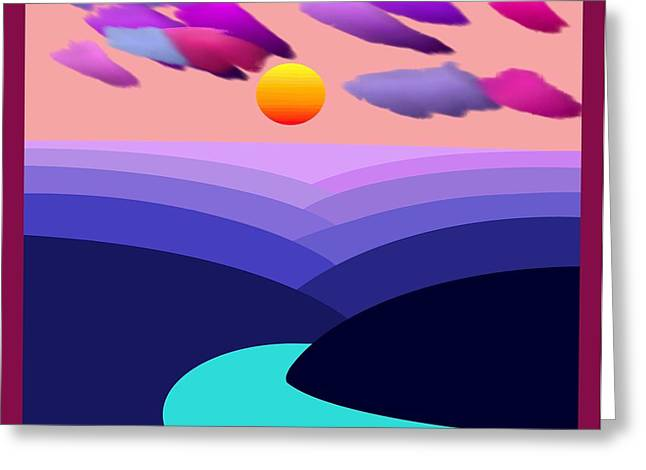 Abstract Decorative Hazy Winding River Gorge Sunrise With Border Greeting Card by L Brown