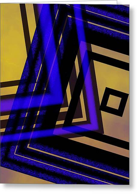 Transparency Geometric Greeting Cards - Abstract Design in Blue Black and Yellow Greeting Card by Mario  Perez