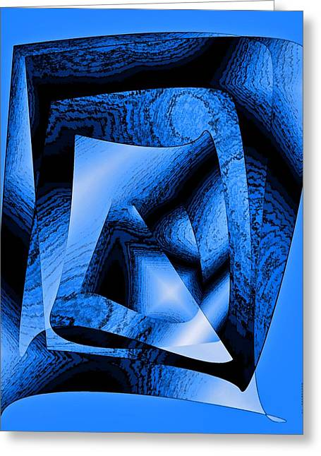 Transparency Geometric Greeting Cards - Abstract Design in Blue Contrast Greeting Card by Mario  Perez