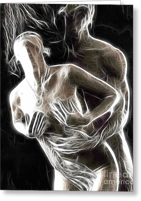 Sexy Man Greeting Cards - Abstract digital artwork of a couple making love Greeting Card by Oleksiy Maksymenko