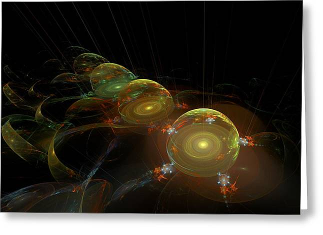Computer Generated Art Greeting Cards - Abstract Digital Fractal Dome Image Black Modern Art Greeting Card by Keith Webber Jr